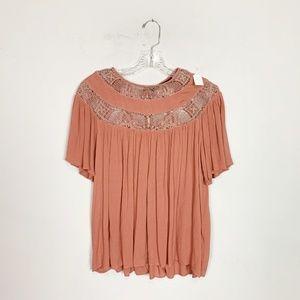 Zara mauve pink lace insert short sleeve blouse M